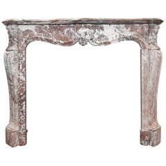 Antique French 19th Century Pink Marble Mantelpiece