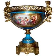 Antique French 19th Century Porcelain Bronze Mounted Centerpiece