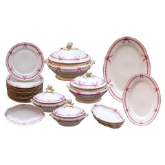 Antique French 22-Piece White Porcelain Dinner Set with Pink Ribbon Motif
