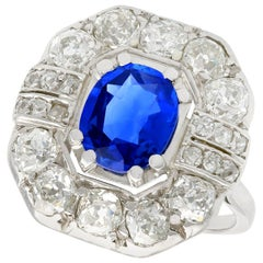 Antique French 2.20 Carat Sapphire and 2.16 Carat Diamond Gold Cluster Ring