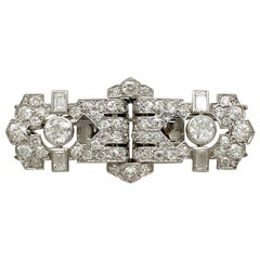 Antique French 2.58 Carat Diamond, Platinum and White Gold Double Clip Brooch