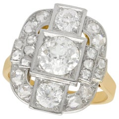 Antique French 2.65 Carat Diamond and Yellow Gold Platinum Set Cocktail Ring