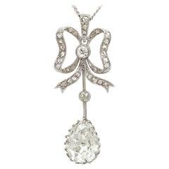 Antique French 2.69 Carat Diamond and Platinum Pendant, circa 1910
