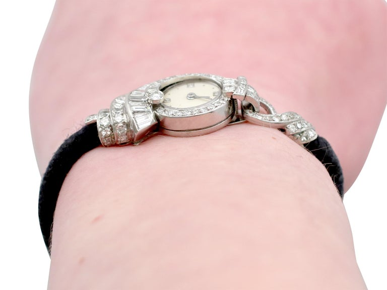 Antique French 3.07 Carat Diamond Cocktail Watch in Platinum For Sale 5