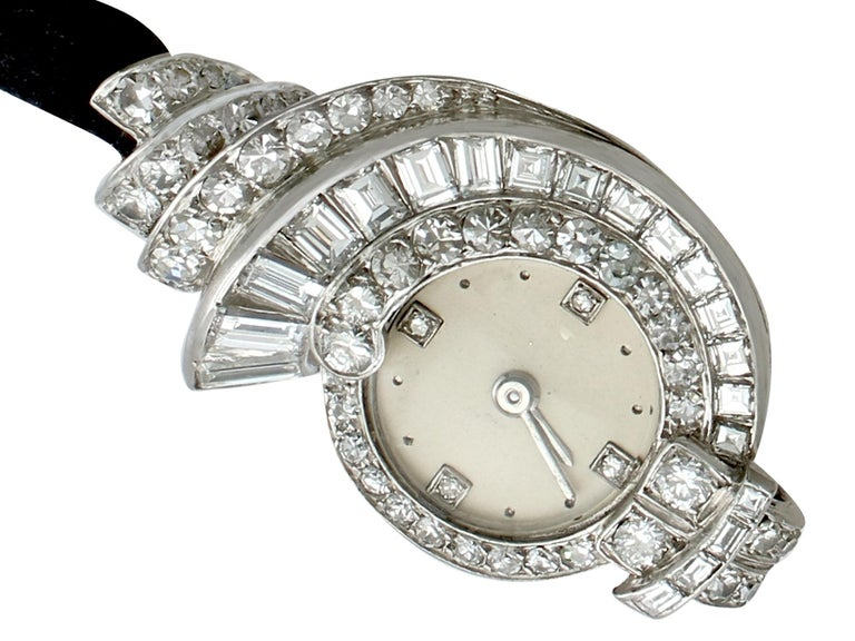 A stunning and impressive ladies Art Deco watch in platinum, with 3.07 carat (total) diamonds; part of our diverse vintage diamond cocktail watch collections.  This stunning, fine and impressive diamond cocktail watch has been crafted in