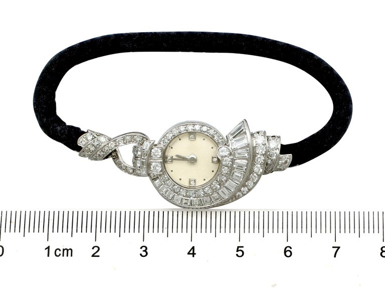 Women's Antique French 3.07 Carat Diamond Cocktail Watch in Platinum For Sale