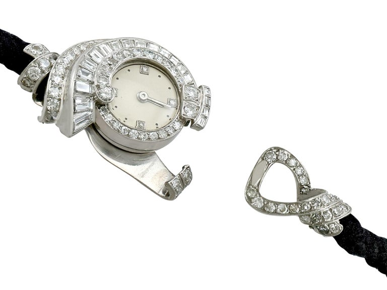 Antique French 3.07 Carat Diamond Cocktail Watch in Platinum For Sale 1