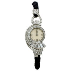 Antique French 3.07 Carat Diamond Cocktail Watch in Platinum
