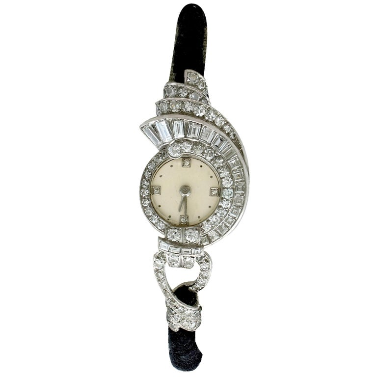 Antique French 3.07 Carat Diamond Cocktail Watch in Platinum For Sale