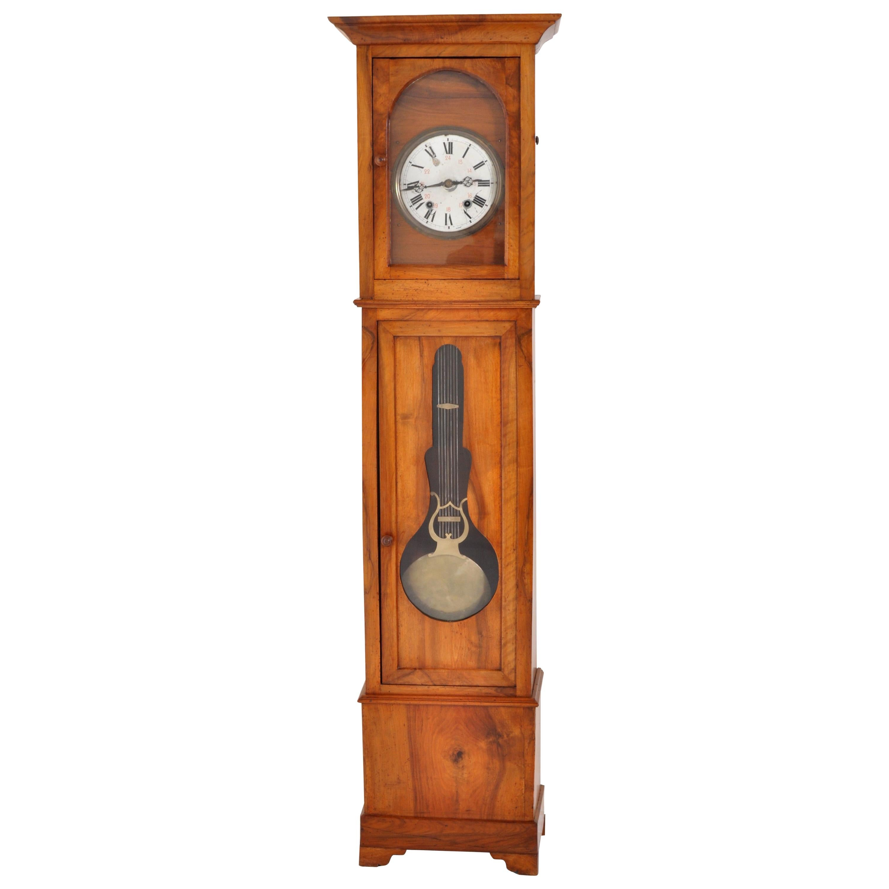 Antique French 8-Day Cherry Longcase/Grandfather Comtoise Morbier Clock