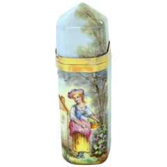 Antique French .800 Fine Silver Vermeil and Hand Painted Enamel Scent Bottle