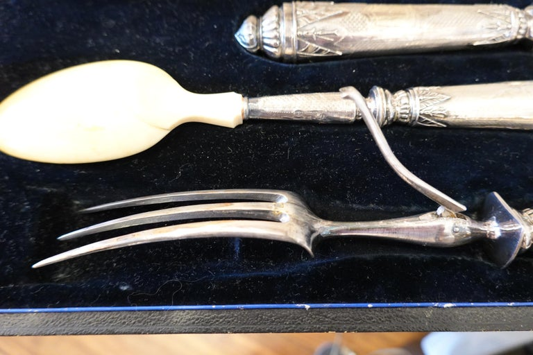 Antique French .950 Silver 5-Piece Carving Service with Gigot in Box For Sale 5