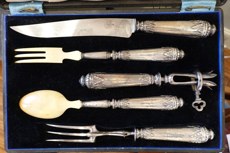 Antique French .950 Silver 5-Piece Carving Service with Gigot in Box In Good Condition For Sale In Charleston, SC