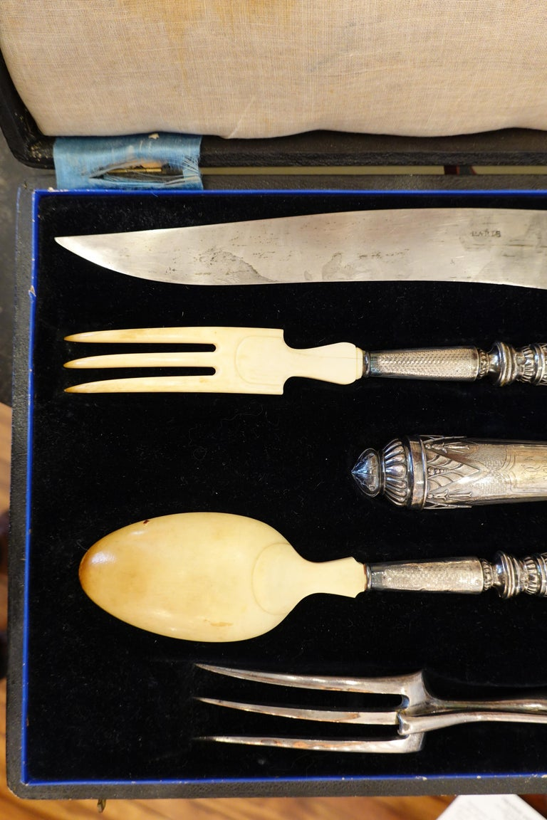 19th Century Antique French .950 Silver 5-Piece Carving Service with Gigot in Box For Sale