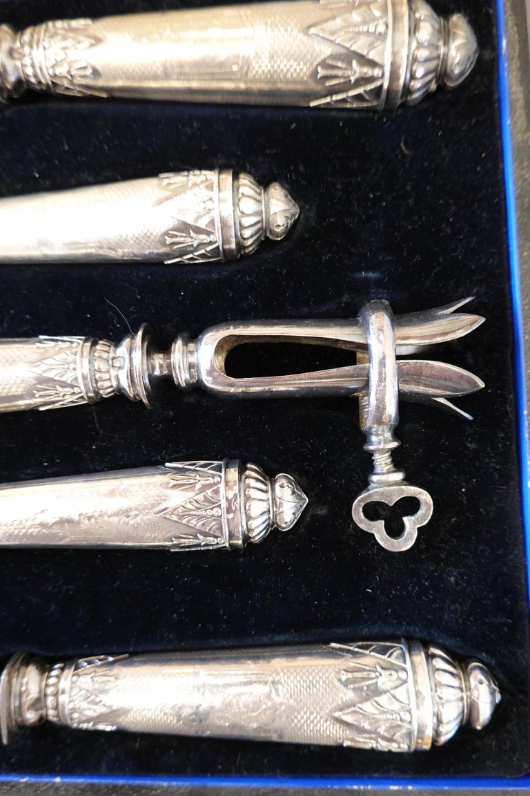 Antique French .950 Silver 5-Piece Carving Service with Gigot in Box For Sale 1