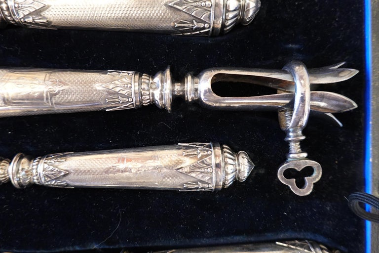 Antique French .950 Silver 5-Piece Carving Service with Gigot in Box For Sale 3