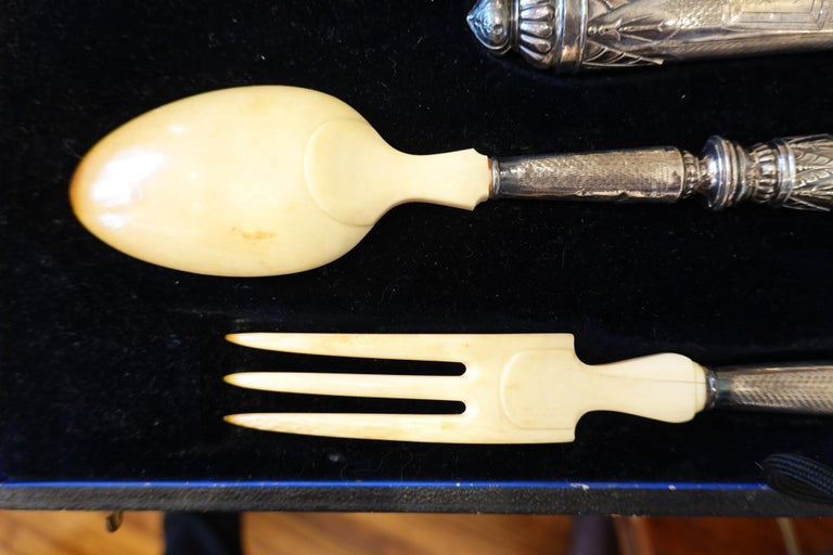 Antique French .950 Silver 5-Piece Carving Service with Gigot in Box For Sale 4