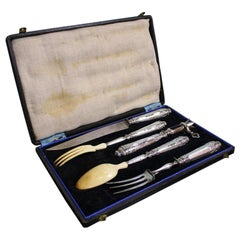 Antique French .950 Silver 5-Piece Carving Service with Gigot in Box