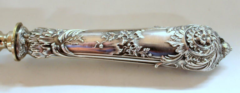 Antique French .950 Silver Rococo Style 3 Pc Carving Set with Rare Gigot For Sale 7