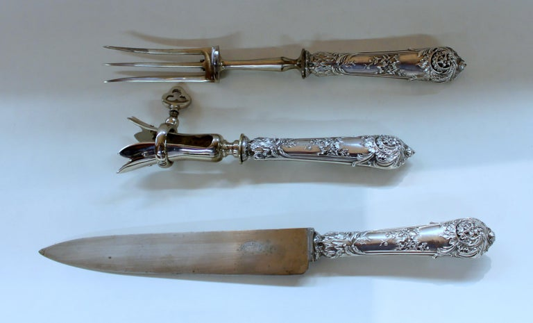 Hand-Carved Antique French .950 Silver Rococo Style 3 Pc Carving Set with Rare Gigot For Sale
