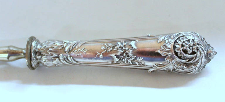 Antique French .950 Silver Rococo Style 3 Pc Carving Set with Rare Gigot For Sale 3