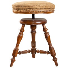 Antique French Adjustable Carved Wood Stool