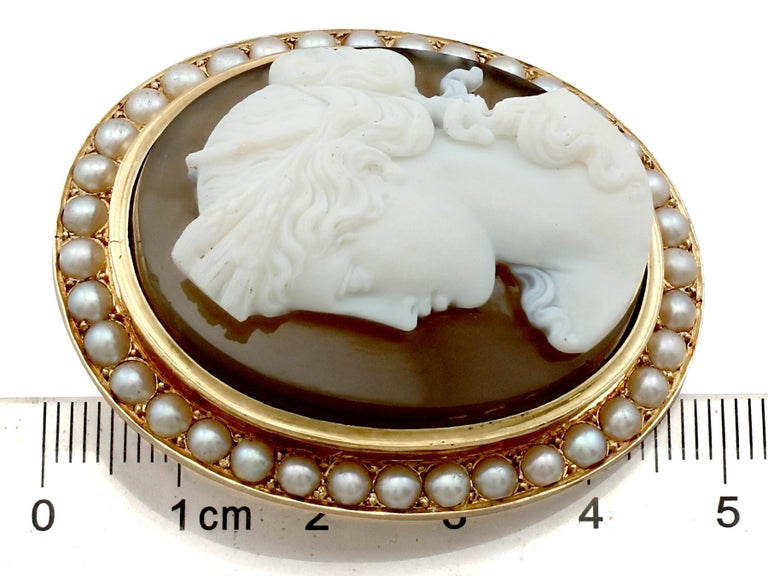 Women's or Men's Antique French Agate and Seed Pearl Yellow Gold Cameo Brooch  For Sale