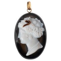 Antique French Agate Cameo Pendant, Circa 1840's