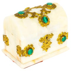 Antique French Agate Malachite and Ormolu Casket, 19th Century