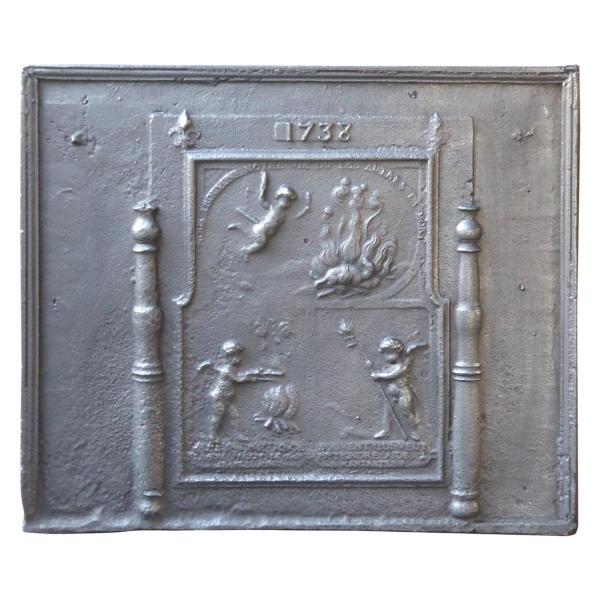 Antique French 'Allegory of Love' Fireback, 18th Century