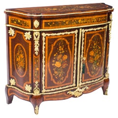 Antique French Amboyna & Floral Marquetry Side Cabinet, 19th Century