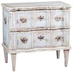 Antique French Arbalette Front Painted Chest Two Drawers, circa 1770