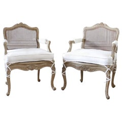 Antique French Armchair in Original Painted Finish and White Linen