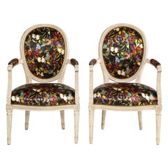 Antique French Armchairs in Valentino Butterfly Silk, Pair