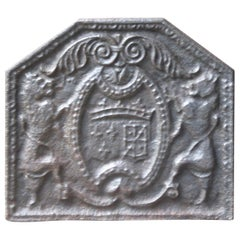 Antique French 'Arms of France and Navarre' Fireback, 17th-18th Century