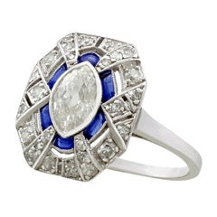 Antique French Art Deco 1.39 Carat Diamond and Sapphire Platinum Dress Ring
