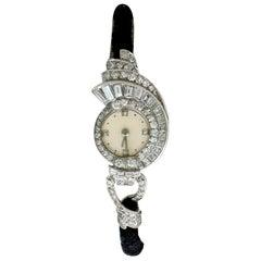 Antique French Art Deco 3.07 Carat Diamond Cocktail Watch in Platinum