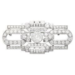 Antique French Art Deco 5.44 Carat Diamond and Platinum Brooch, Circa 1925