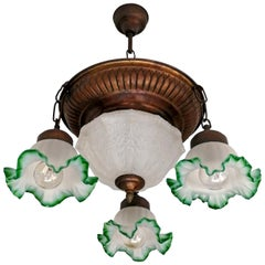 Antique French Art Deco and Art Nouveau Fogged Green Glass 5-Light Chandelier