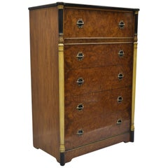 Antique French Art Deco Burl Wood Dresser Tall Chest of Drawers Empire