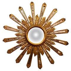 Antique French Art Deco Giltwood Sunburst Mirror, circa 1920