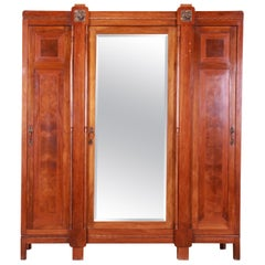 Antique French Art Deco Inlaid Mahogany Mirrored Knockdown Armoire, circa 1920s