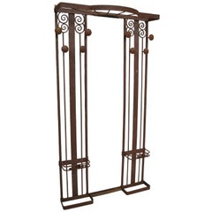 Antique French Art Deco Iron Hall Coat Tree Tall Mirror Stand Edgar Brandt Style