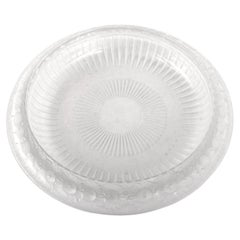 """Antique French Art Deco Large Crystal Glass """"Marguerites"""" Bowl by Lalique, 1930s"""