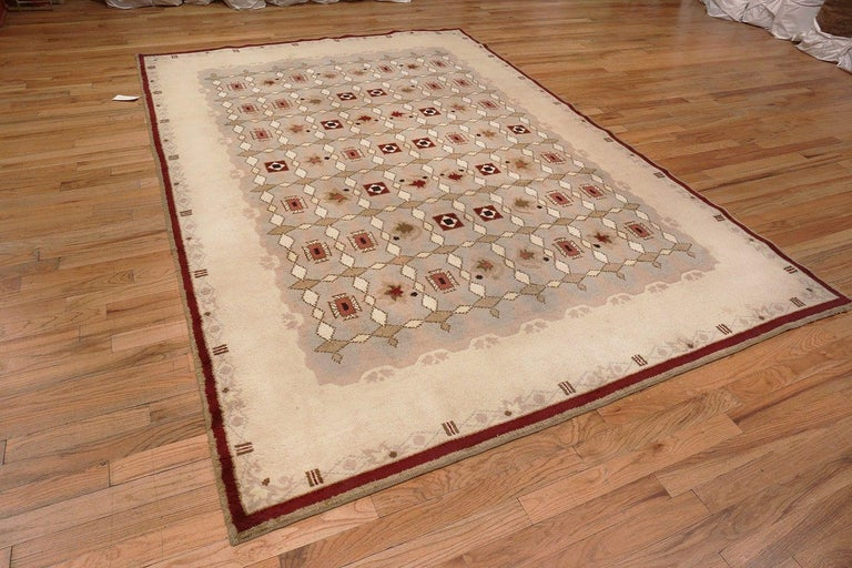 Wool Antique French Art Deco Leleu Rug For Sale