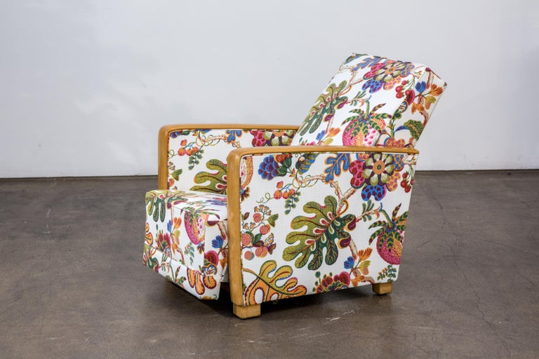 Polished Antique French Art Deco Lounge Chairs New Upholstery Josef Frank Fabric, 1930s For Sale