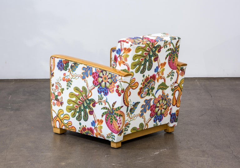 Mid-20th Century Antique French Art Deco Lounge Chairs New Upholstery Josef Frank Fabric, 1930s For Sale