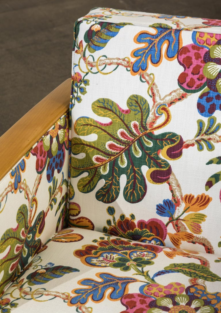 Antique French Art Deco Lounge Chairs New Upholstery Josef Frank Fabric, 1930s For Sale 1