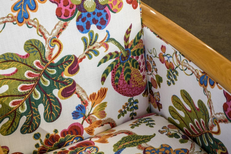 Antique French Art Deco Lounge Chairs New Upholstery Josef Frank Fabric, 1930s For Sale 2