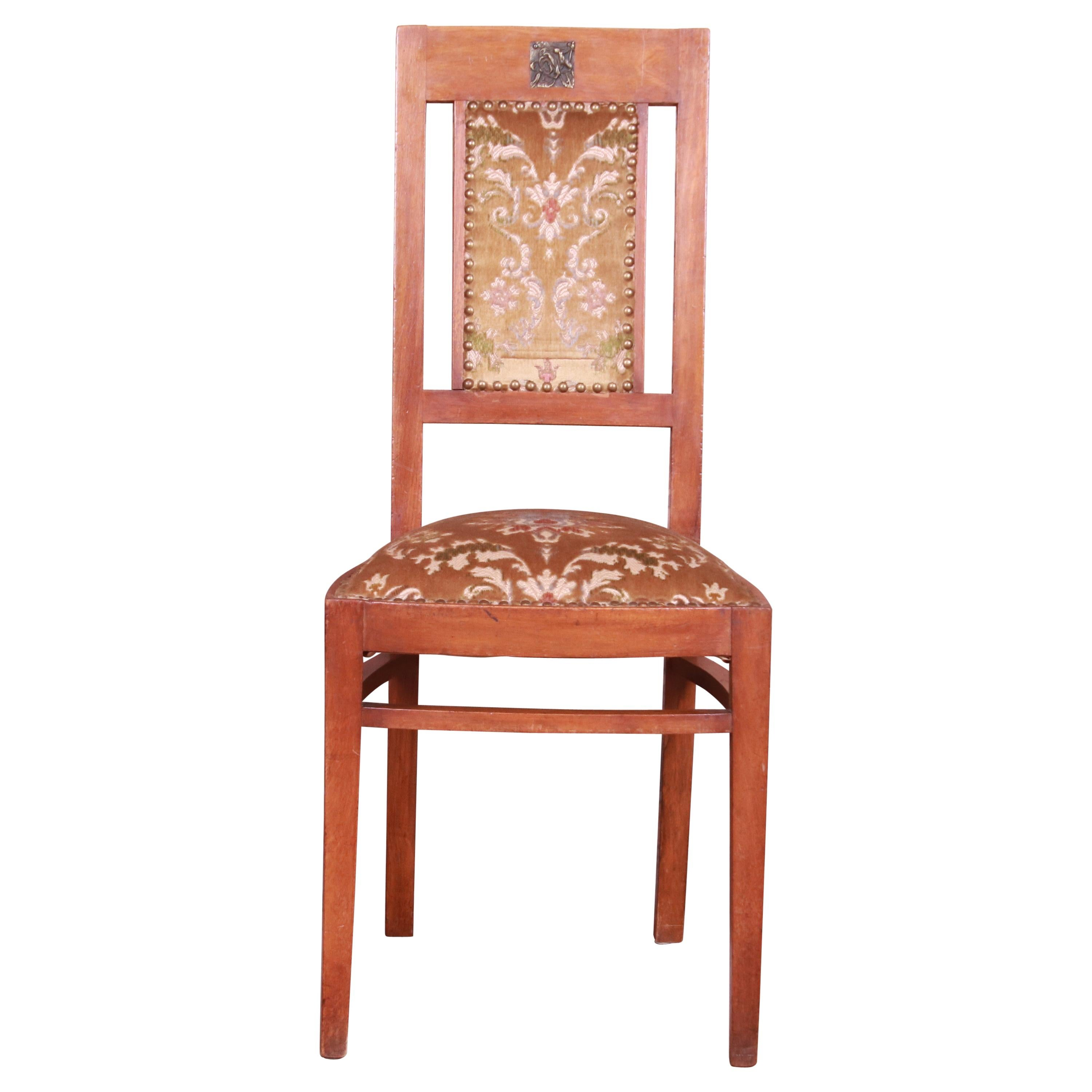 Antique French Art Deco Mahogany Side Chair, circa 1920s